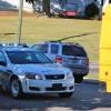 School bus grazes telephone pole