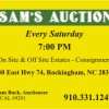 Sam's Auction every Saturday at 7 p.m.