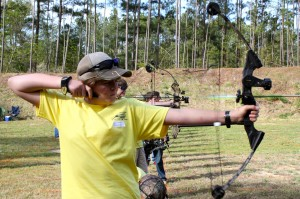 Photo by Kevin Spradlin | PeeDeePost.com Mackenzie Eubanks, of the Smyrna School Shooting Team, lets an arrow fly from 15 yards out Saturday morning at the 36th annual Youth Hunter Education Skills Tournament at Millstone 4-H Center hosted by the North Carolina Wildlife Resources Commission.