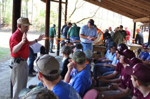 Photo by Kevin Spradlin | PeeDeePost.com The range officer for the .22-caliber rifle competition addressed each of the 18 groups of 31 shooters with the same message: safety first.