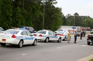 Kevin Spradlin | PeeDeePost.com Representatives of the Rockingham Police Department, Rockingham Fire Department, FirstHealth Regional EMS, North Carolina Highway Patrol and Joe's Towing responded to a two-car collision late Tuesday afternoon along U.S. Route 1 at Plaza North in Rockingham.