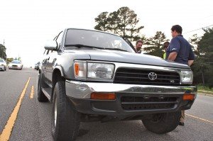 Kevin Spradlin | PeeDeePost.com This gray Toyota 4Runner suffered what appears to be minor damage to its right front end after a two-car crash late Tuesday afternoon along U.S. Route 1 in Rockingham.