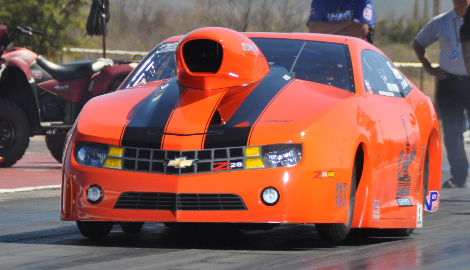 Photo courtesy Rockingham Dragway Cary Goforth and his Dean's Casing Service Camaro is the favorite in
