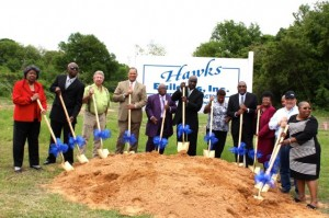 Kevin Spradlin | PeeDeePost.com Golden shovels are used to conduct the ceremonial groundbreaking for the new Dobbins Heights Community Center Thursday afternoon in Dobbins Heights.