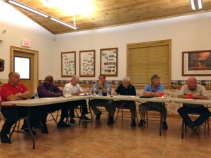 Kevin Spradlin | PeeDeePost.com City of Rockingham department heads, including outgoing Fire Chief Charles Gardner, left, and incoming Chief Harold Ellis, second from left, were a part of the city's 15th annual budget retreat on Wednesday at Hinson Lake.