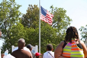 Kevin Spradlin | PeeDeePost.com As directed by presidential order, this U.S. flag at Dobbins Heights Town Hall was flown at half mast from sunrise to noon on Memorial Day.