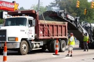 Kevin Spradlin | PeeDeePost.com Stancil Hauling, of Ellerbe, is a subcontractor on a paving project that will resurface 1.8 miles of roadway along State Route 177 in Hamlet.