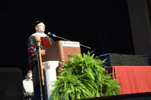 A Richmond Community photo Dr. Dale McInnis, the seventh president of Richmond Community College, addresses graduating students last weekend at one of two commencement ceremonies at the Hamlet campus.