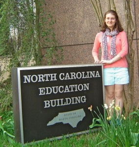 Submitted photo Nicole Lawrence stands outside the North Carolina Education Building in Raleigh.