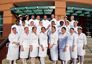 Photo courtesy Richmond Community College The 25 graduates of the Associate Degree Nursing program stand outside Cole Auditorium on the campus of Richmond Community College in Hamlet Thursday evening before their graduation ceremony.