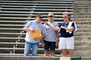 Kevin Spradlin | PeeDeePost.com Cathy Hoggard, right, accepts a donation of $8,499 from Sarah Thompson, left, and Georgetta Morgan. Thompson and Morgan donated the proceeds from the 5th annual Buddy Roe's Special Olympics Bike Ride, that took place last Saturday and involved more than 60 bikers.