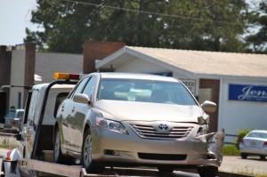 Kevin Spradlin | PeeDeePost.com The Toyota Camry, towed away by Arlo's Wrecker Service, Hamlet.