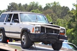 Kevin Spradlin   PeeDeePost.com The Jeep was hauled away by Watson Wrecker Service, Rockingham.