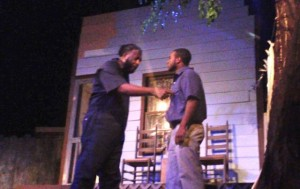 "Kevin Spradlin | PeeDeePost.com Bruce Stanback, left, plays Troy Maxson while Tyrese Clark plays son Cory in August Wilson's Pulitzer Prize-winning ""Fences"" Friday night at Richmond Community Theatre in downtown Rockingham."