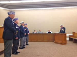 Commander Mike Stubbs, right, and members of the Military Order of the Purple Heart line up for recognition Monday at the Richmond County Board of Commissioners meeting on Monday in Rockingham.