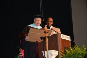 Photo courtesy Richmond Community College RCC President Dr. Dale McInnis, left, and commencement address speaker Barry Saunders.