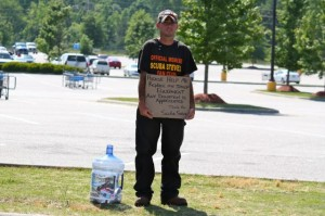 Kevin Spradlin | PeeDeePost.com Despite the loss of his guitar and other belongings due to a theft Saturday, Scuba Steve was back at the Walmart parking lot Wednesday afternoon in Rockingham.