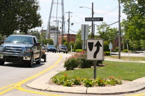 Kevin Spradlin | PeeDeePost.com Three traffic islands within downtown Rockingham, including this one in front of Leath Memorial Library at Rockingham Road and Franklin Street, would be costly to remove if one-way traffic were to be eliminated.
