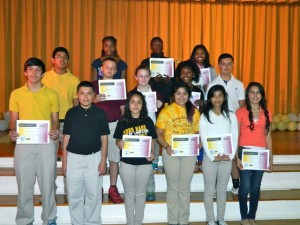 Submitted photo Ellerbe Middle School has named it's A Honor Roll for the sixth six weeks.  Front row, left to right, James Melton, Jenrry Leon, Vanessa Gutierrez-Olivera, Sherlyn Martinez, April Gonzalez, Christina Collins, second row, Ricardo Vega-Vazquez, Gavin Russell, Gabby Bellanger, Dymond McNeal, Garrett Richardson, third row, Cierra Peterkin, Carl McNeal and Kyia Walker, not pictured: Dalton Bowman.