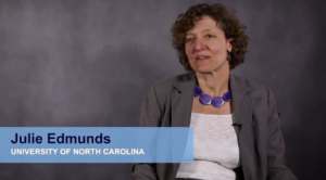 This image shows Dr. Julie Edmunds in a video interview with The Voice. Click on the image to see the full interview.
