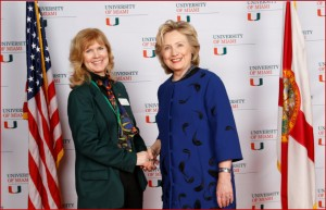Submitted photo Joy Cadieu, left, and Hillary Clinton.