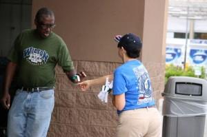 Kevin Spradlin | PeeDeePost.com Elise Freeman approaches a friend of veterans at Walmart Saturday morning in Rockingham.