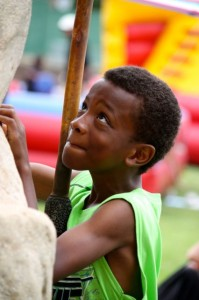 Kevin Spradlin | PeeDeePost.com The climbing wall isn't the easiest task for this young man, but it's a task he's willing to tackle.