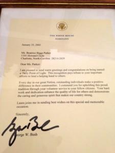 Kevin Spradlin | PeeDeePost.com A letter from former President George W. Bush in 2002.