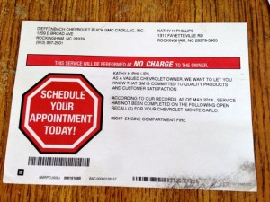 Kevin Spradlin | PeeDeePost.com Kathy Phillips received this postcard from the local GM dealership offering repairs to her vehicle after suffering damage due to an engine compartment fire.