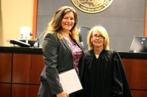Kevin Spradlin | PeeDeePost.com Holly Smith, left, with Senior Resident Superior Court Judge Tanya Wallace.