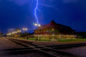 Photo by Jimmy McDonald | jmacphoto.com This photo captures a lightning strike over the Hamlet Depot on June 19. It was featured in the August edition of Carolina Country.