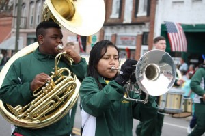 Photo by Kevin Spradlin The Richmond Raiders Marching Band leads the Farmers Parade in Ellerbe in November 2013.