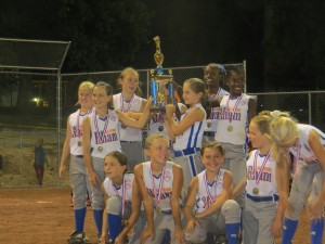 Submitted photo The Rockingham Angels' district trophy, earned in Troy, might not be the only hardware they win if they keep playing as well as they played on Saturday in Eden.