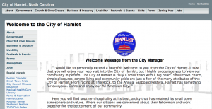 A screenshot of the current city of Hamlet website homepage.