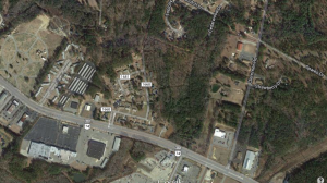 This Google Maps aerial image shows the top of Aldi food market in the lower right corner along Clemmer Road. To the front is the under-construction Zaxby's restaurant. Behind, where the image indicates trees are, is where Fountain Pointe Apartment Complex will go.