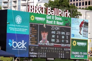 Kevin Spradlin | PeeDeePost.com The scoreboard at BB&T Ballpark in Charlotte shows Kyle Roller's season stats before his third at-bat Sunday evening while with Triple A Scranton/Wilkes-Barre.