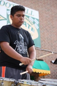 Kevin Spradlin | PeeDeePost.com Angelis Hernandez, 16, is the battery captain for the Richmond Raiders Marching Band drum line and was recruited to be a member of Carolina Gold.