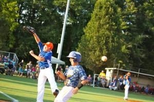Kevin Spradlin | PeeDeePost.com It was a busy first inning for Rockingham first baseman Jarrett Morse.