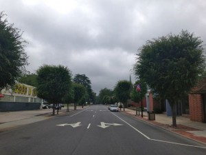 Kevin Spradlin | PeeDeePost.com Shortly after 9 a.m. Thursday, the sky over downtown Rockingham already is darker than usual in anticipation of anticipated showers and storms related to Hurricane Arthur that are expected to arrive later today.