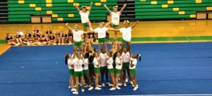 Kevin Spradlin | PeeDeePost.com The Richmond Raiders varsity cheerleading squad rounds out the list of 11 squads that participated in the Richmond Raiders Cheer Camp showcase event Thursday at Richmond Senior High School.