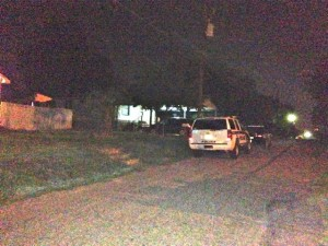 Kevin Spradlin | PeeDeePost.com A Rockingham Police Department K-9 unit was deployed in East Rockingham late Saturday night from Flowers Street in search of an armed robbery suspect.