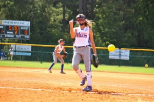 Kevin Spradlin | PeeDeePost.com Jenna Greene tosses a warm-up throw in the top of the second inning as Rockingham holds a 1-0 lead.