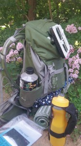 Chris Knodel snapped a pic of his gear around Mile 55 of the 500-kilometer journey.