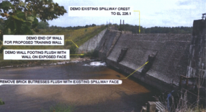 This image and projection of work to repair the Ledbetter Dam is on file with the application with various state agencies.