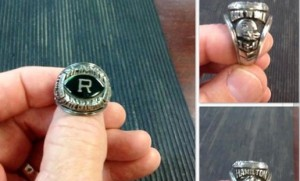 A ring belonging to former Raiders football player James S. Hamilton is on its way back to the Hamlet resident after missing for more than 25 years.