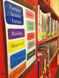 Kevin Spradlin | PeeDeePost.com Instead of the Dewey Decimal system, books are now color-coded and organized according to genre, said media specialist Karen Brewer, much like modern bookstores are laid out.