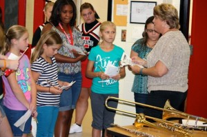 Kevin Spradlin | PeeDeePost.com Phyllis Lupo, band teacher, encourages students to consider playing an instrument for one of their two encore, or elective, classes.