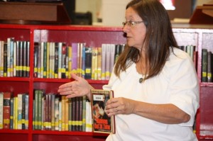 Kevin Spradlin | PeeDeePost.com Karen Brewer, media specialist, encourages students to make use of a suggestion box to let her know which books the library should acquire.