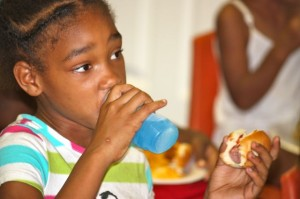 Kevin Spradlin | PeeDeePost.com A hot dog is easily washed down with some juice.