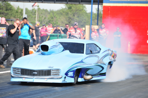 Submitted photo Travis Harvey will drive his heavily-modified Carolina blue 1968 Chevrolet Camaro in pursuit of a Pro Nitrous title this week when the PDRA series returns to Rockingham Dragway for Dragstock XI.